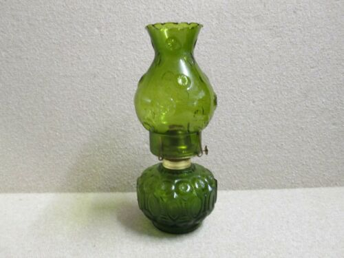 Vintage Moon and Stars Pattern Glass LE Smith Oil Lamp DARK GREEN