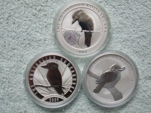 2008-2009-2010 AUSTRALIAN SILVER KOOKABURRA COINS BU (set of 3 one oz coins)