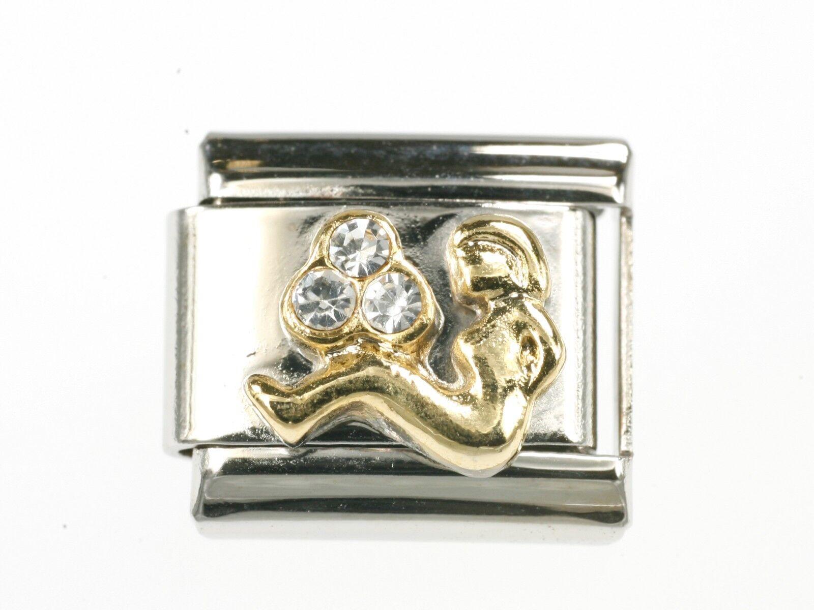 Jungfrau Sternzeichen Golden Italian Charms Modul Neu