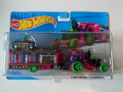 Hot wheels   CAR-NIVAL STEAMER Halloween theme big rig hauler transporter  - Halloween Car Themes