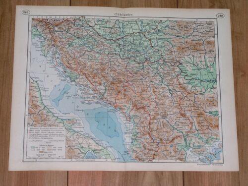 1938 ORIGINAL VINTAGE MAP OF YUGOSLAVIA / SLOVENIA CROATIA SERBIA BOSNIA