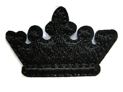 Black Royal King Queen Crown Emblem Embroidered Iron On Patch 1.50 Inches](Royal Queen Crown)