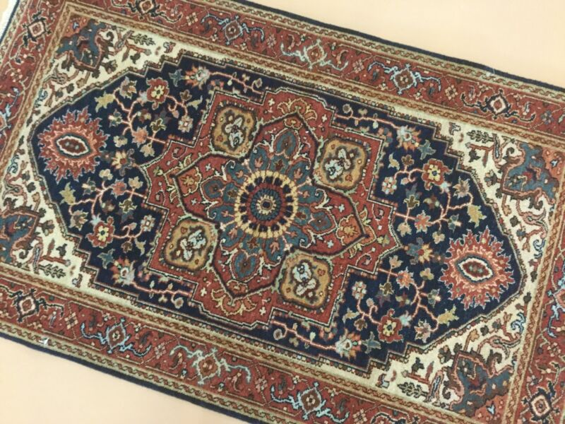3 X 5 Navy Blue Rust Serapi Persian Oriental Area Rug Geometric Hand Knotted