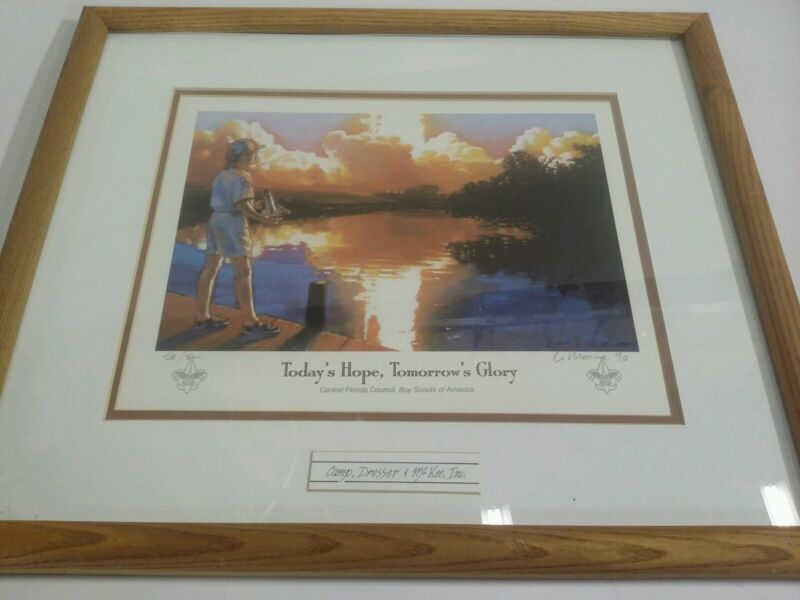 BOY SCOUTS OF AMERICA CENTRAL FLORIDA COUNCIL FRAMED SIGNED LITHOGRAPH #58/500