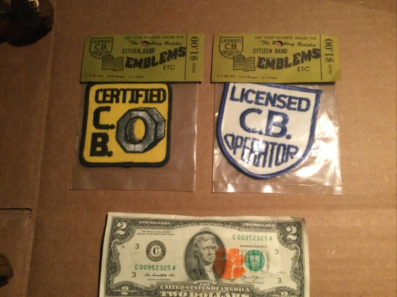 2 Vintage NOS CB Radio Patches CB CERTIFIED / LICENSED CB OPERATOR
