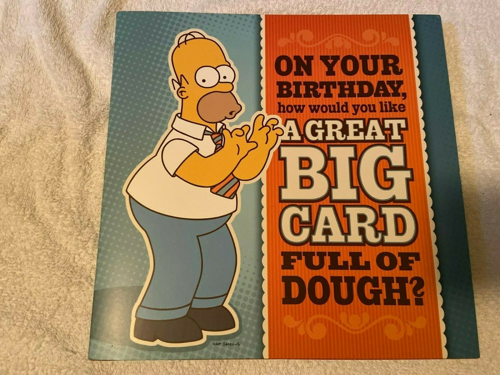 simpsons birthday card large homer dough