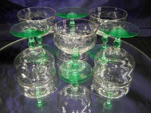 SET OF 6 VINTAGE VASELINE~URANIUM SHERBET GLASSES