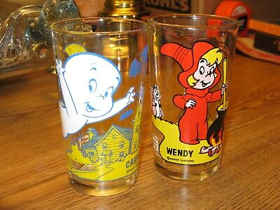 2 VINTAGE HALLOWEEN CASPER THE GHOST & WENDY THE WITCH PEPSI CHARACTER GLASSES