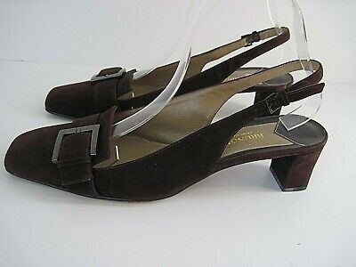 Bruno Magli Brown Suede Slingback Heel Shoes Front Buckle Size 8 1/2B Front Slingback Heel