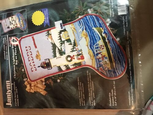 Janlynn Christmas Lighthouse  Counted Cross Stitch Stocking