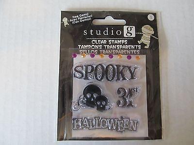 Studio G Clear Halloween Scrapbooking Stamps Peel and Stick on Clear - Studio G Halloween Clear Stamps