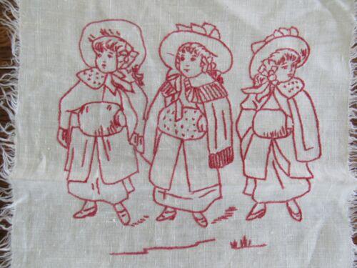 """Antique REDWORK Fringed Doily 12x16"""" Ivory Linen VICTORIAN CHILDREN"""