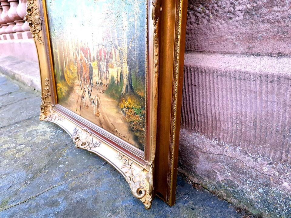 Ölgemälde Englische Fuchsjagd sign. HOLTERMAN Gemälde + Rahmen in Gommern