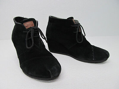 TOMS Black Suede Wedge Ankle Desert Boots Size Women's 9.5 Black Suede Wedge Boots