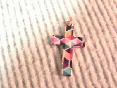 Cross Christian charm pendant multi color enamel gold tone mosaic stained glass