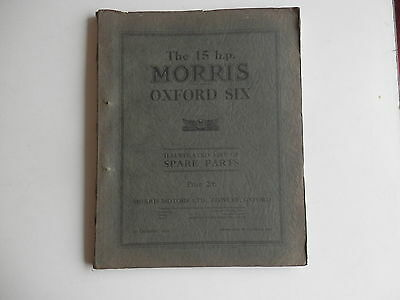 MORRIS 15HP OXFORD SIX parts list dated 1929