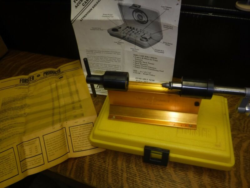 Forster Appelt Cartridge Shell Case Trimmer with #1 , 2 & 3 Collets & case