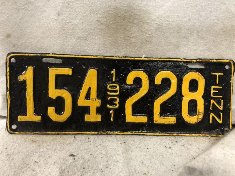 Vintage 1931 Tennessee License Plate (Repaint)