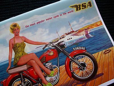 BSA 1960 SALES BROCHURE A10 A10SR A7 A7SS B33 C15 C15S C15T D1 D7