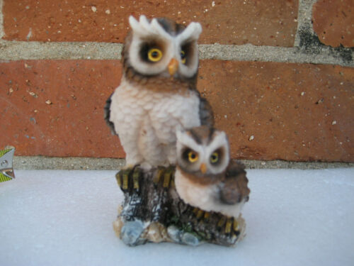 Mother Owl with Baby Owl Resin Statue Figurine