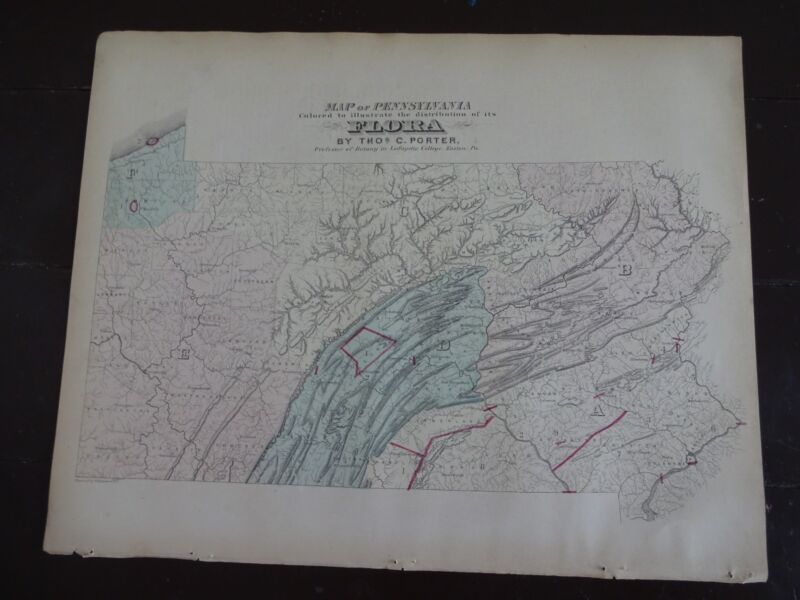 1872 Hand-Colored Map of Pennsylvania/Colored to show Distribution of its Flora