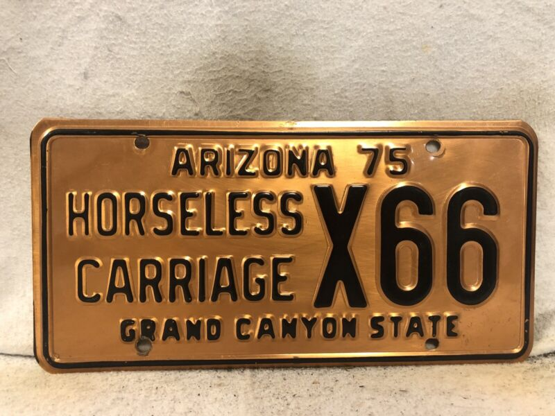 Vintage 1975 Arizona Horseless Carriage License Plate