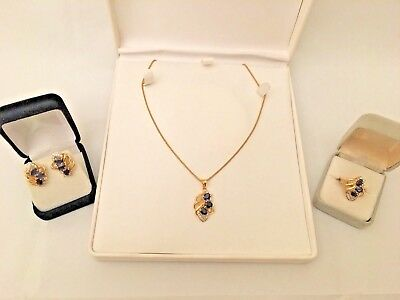 Sapphire Diamond 14K YG Ring Earrings Pendent Fashion Set 4.60 Cts. - 4 Piece