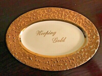 Vintage Weeping 22k Gold Ceramic Trinket Tray Dish Advertising Display Piece