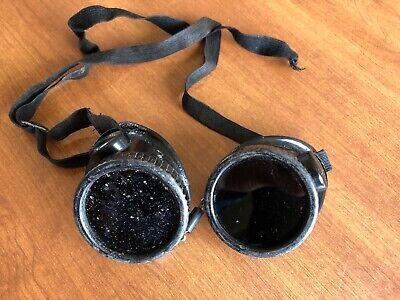 Vintage Willson Welding Goggles Safety Glasses Strap Retro Old Steampunk
