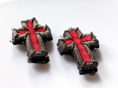 Pair of Vintage Cross Patches from Masonic Uniform Red Velvet Bullion Embroidery
