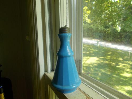 1870s BLUE MILKGLASS HAND BLOWN PEPPERSAUCE BOTTLE W/ORIGINAL PEWTER SHAKER LID
