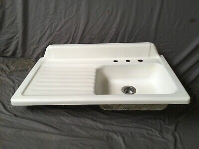 "Vtg Cast Iron White Porcelain 42"" Kitchen Farm Sink Left Drainboard Old 130-19E"