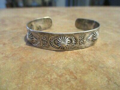 OLD 1920'S  Fred Harvey Era Navajo Coin Silver REVERSE PUNCH Design Bracelet](20s Era)