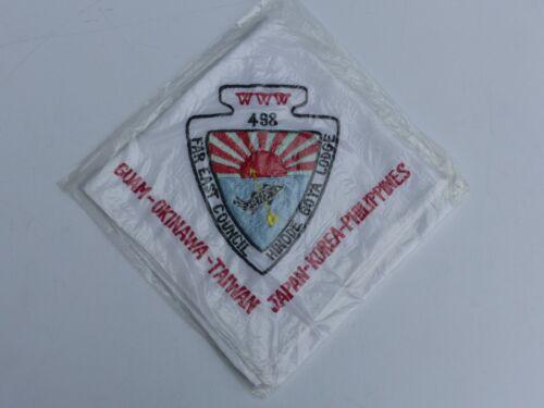 Vintage OA Lodge #498 Hinode Goya Far East Council Boy Scout BSA Emb Neckerchief