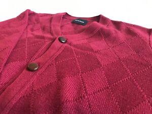 Nom De Guerre Argyle Knit Cardigan Sweater Helmut Maroon Grailed Simons Yohji L