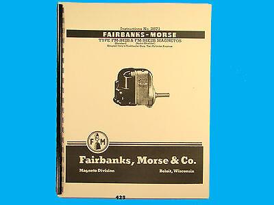 Fairbanks Morse Magneto Instruct Parts Manual For Fm-jh2b Fm-jhe2b Mags425