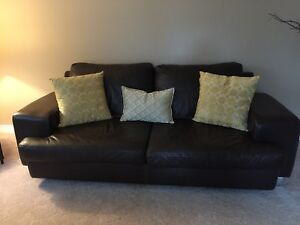 DeBoers genuine leather sofa and love seat