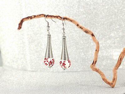 Earrings Silver Fine Pearl Porcelain Red Ethnic Class Ff 2