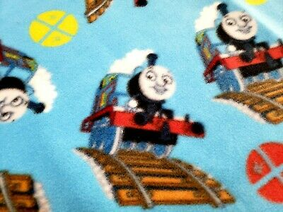 """Handmade""""THOMAS the TANK ENGINE""""35x55in fleece toddler/lap blanket with red trim"""