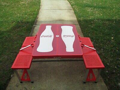 Coca-Cola Red Folding Portable Picnic Table Contour Bottle Silhouette BRAND NEW (Coca Cola Folding Table)