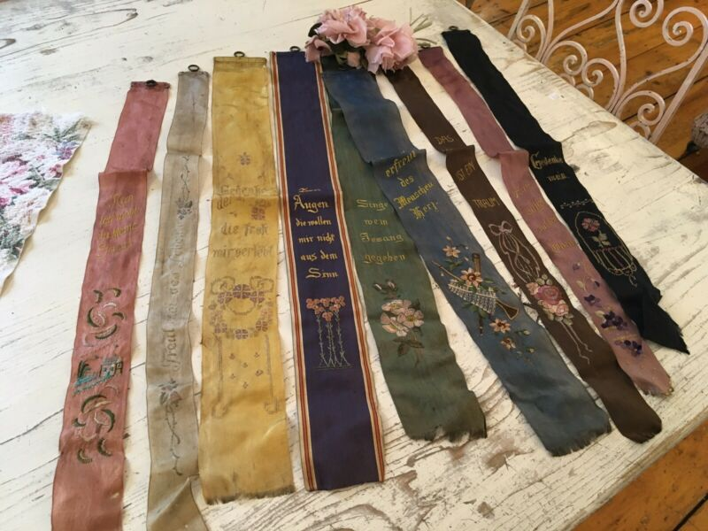 9 Gorgeous Antique Victorian German Embroidered Silk Ribbons #B