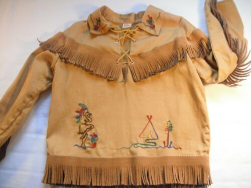 Vintage Embroidered with Fringe WALLS OF TEXAS costume gold size 6 / 7 youth Top