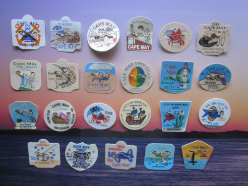 ORIGINAL  23   YEAR  COLLECTION   CAPE   MAY   NEW  JERSEY   BEACH   BADGES/TAGS