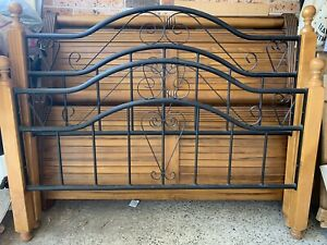 Iron and timber Queen bed with mattress