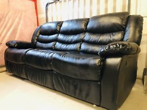 (Like new) Black Premium Leather recliner couch sofa