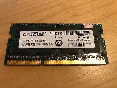 4GB DDR3L-1600 PC3L-12800 1600Mhz CRUCIAL CT51264BF160B.16FMR ARBEITSSPEICHER