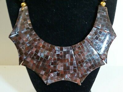 Mosaic Purple Mother Of Pearl - Rare Mother of Pearl Mosaic Chunky PURPLE Choker with Black and Gold Beads