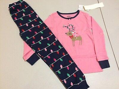 NWT Gymboree Christmas Girls Gymmies Reindeer Lights Deer Pajama Set - Christmas Girls Pajamas