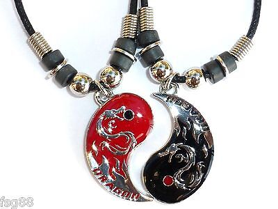 BEST FRIEND Chinese Dragon Yin Yang  2 Pendants Necklace BFF Friendship Ying