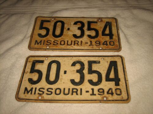 VINTAGE MATCHING SET OF TWO (2) 1940 AUTO MISSOURI LICENSE PLATES # 50-354